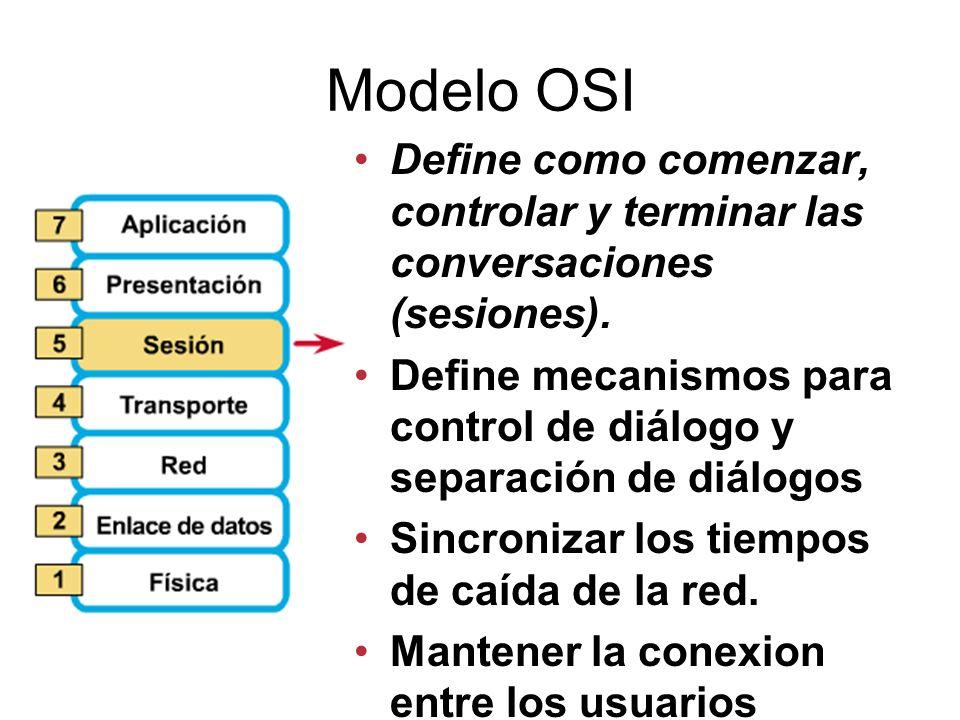 Modelo OSI Define como comenzar, controlar y terminar las conversaciones (sesiones).