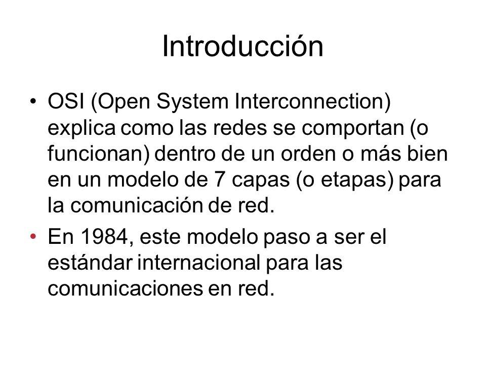 Introducción OSI (Open System Interconnection) explica como las redes se comportan (o funcionan) dentro de un orden o más bien en un modelo de 7 capas (o etapas) para la comunicación de red.