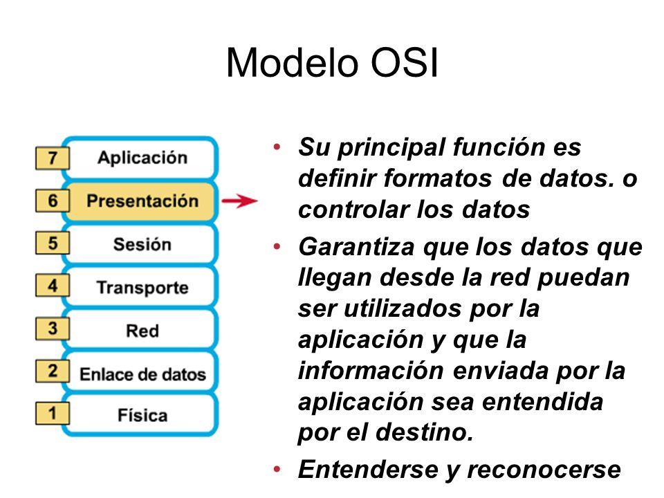Modelo OSI Su principal función es definir formatos de datos.