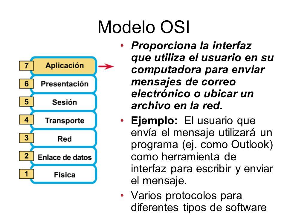 Modelo OSI Proporciona la interfaz que utiliza el usuario en su computadora para enviar mensajes de correo electrónico o ubicar un archivo en la red.