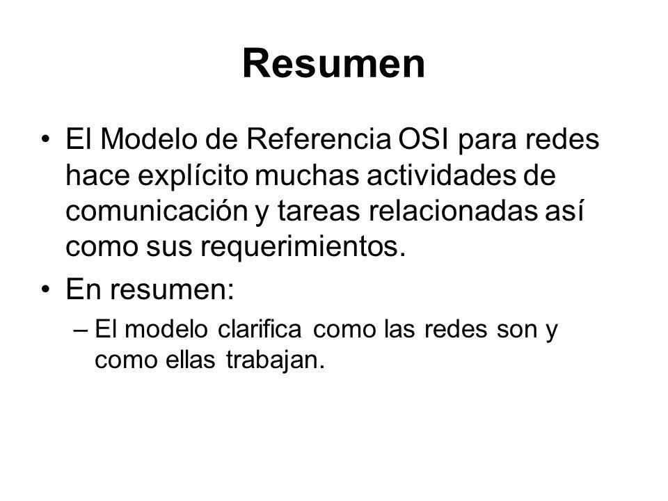 Resumen El Modelo de Referencia OSI para redes hace explícito muchas actividades de comunicación y tareas relacionadas así como sus requerimientos.