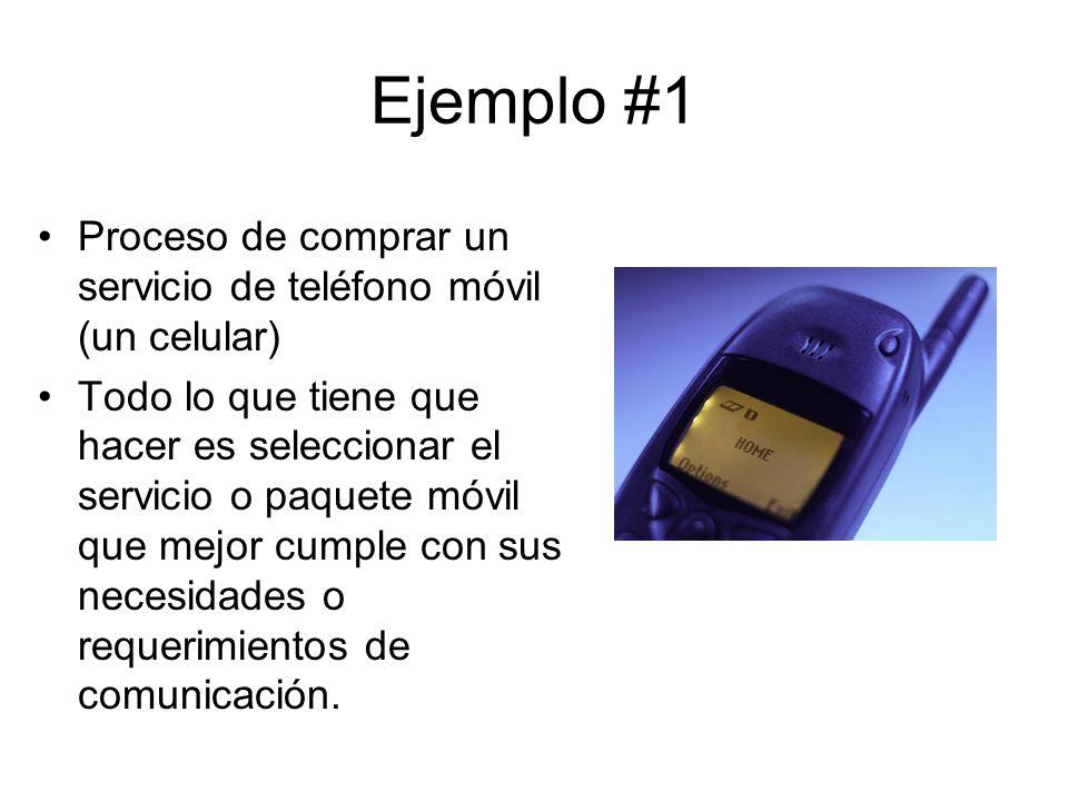 Ejemplo #1 Proceso de comprar un servicio de teléfono móvil (un celular) Todo lo que tiene que hacer es seleccionar el servicio o paquete móvil que mejor cumple con sus necesidades o requerimientos de comunicación.