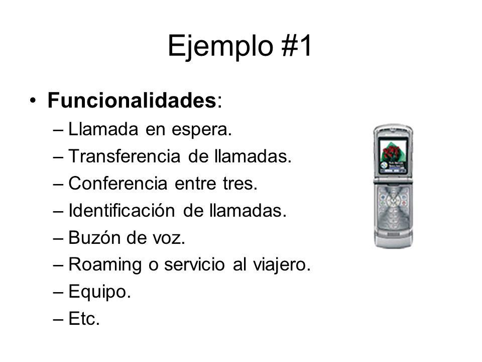 Ejemplo #1 Funcionalidades: –Llamada en espera.–Transferencia de llamadas.