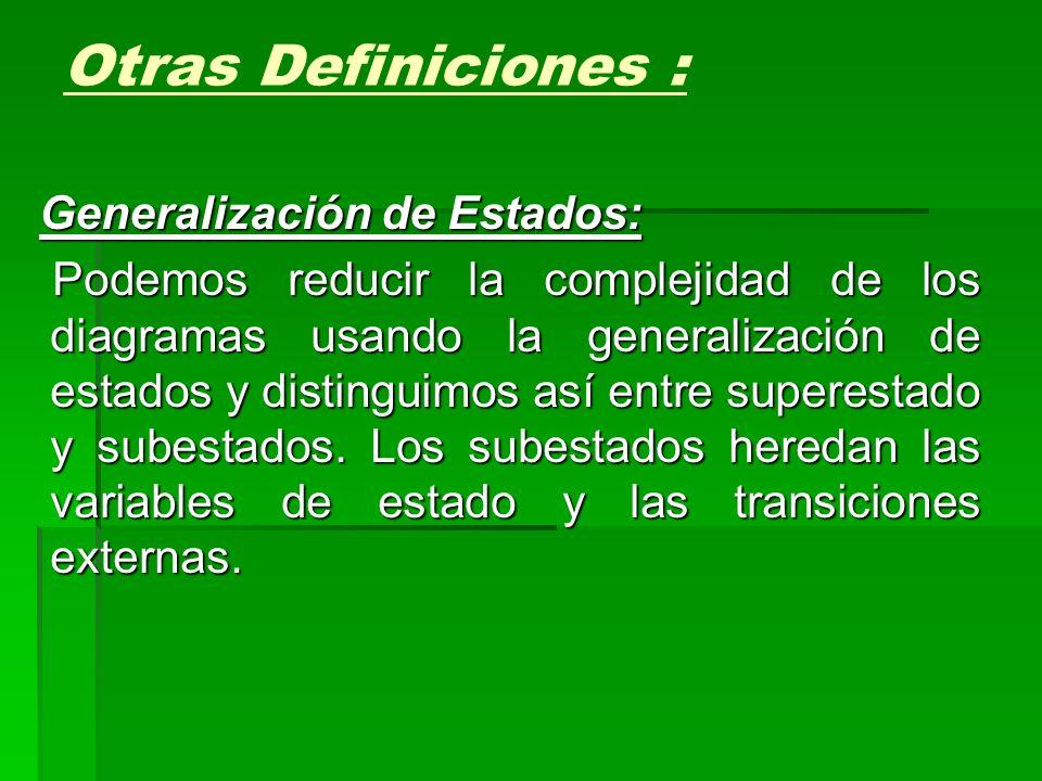 Generalización de Estados: Podemos reducir la complejidad de los diagramas usando la generalización de estados y distinguimos así entre superestado y