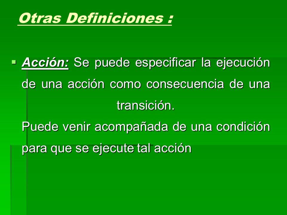 Acción: Se puede especificar la ejecución de una acción como consecuencia de una transición. Puede venir acompañada de una condición para que se ejecu