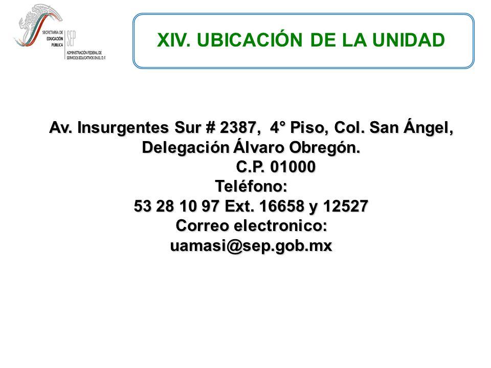Av.Insurgentes Sur # 2387, 4° Piso, Col. San Ángel, Delegación Álvaro Obregón.