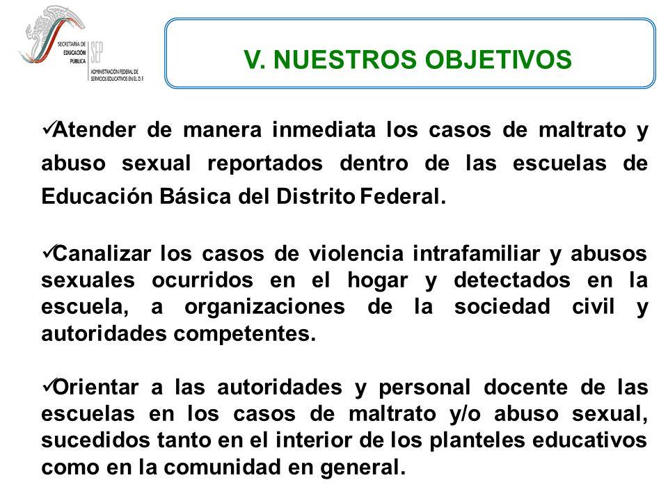 V. NUESTROS OBJETIVOS Atender de manera inmediata los casos de maltrato y abuso sexual reportados dentro de las escuelas de Educación Básica del Distr