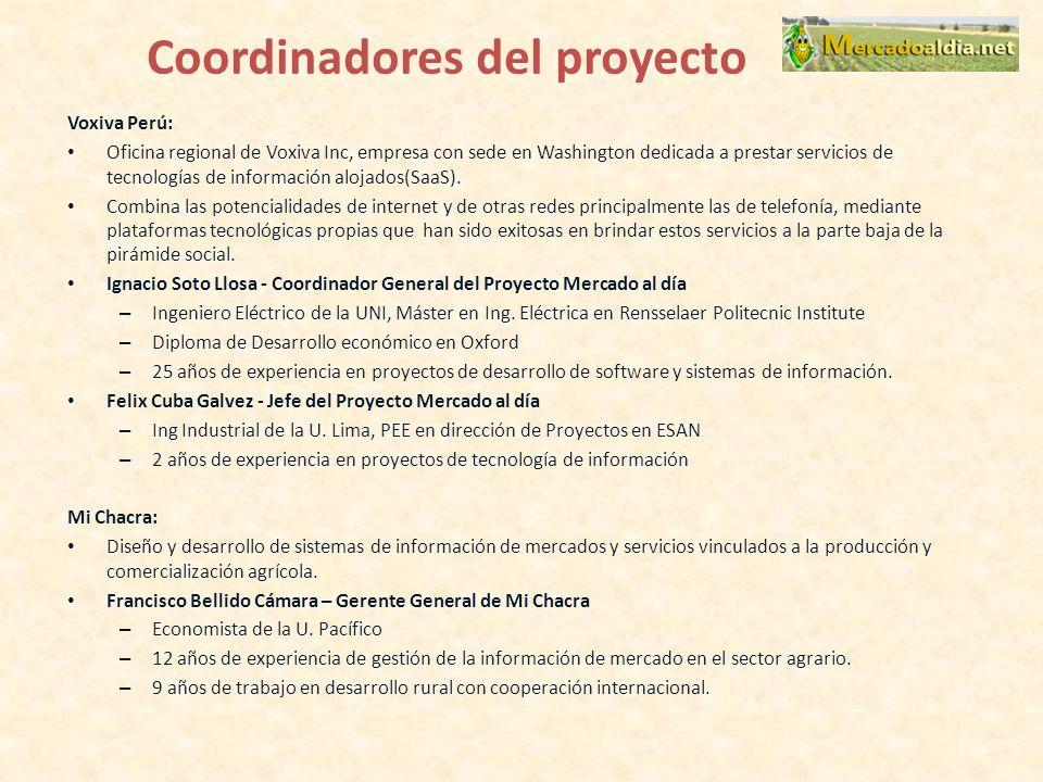 Coordinadores del proyecto Voxiva Perú: Oficina regional de Voxiva Inc, empresa con sede en Washington dedicada a prestar servicios de tecnologías de información alojados(SaaS).