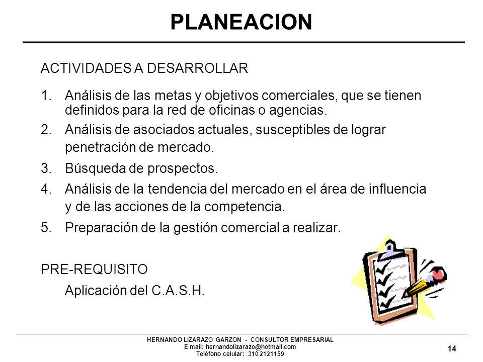 PLANEACION Definición de las acciones a seguir según las metas y objetivos comerciales que se tienen establecidos para la Cooperativa. Para tal efecto