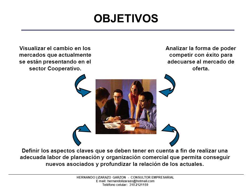 HERNANDO LIZARAZO GARZON - CONSULTOR EMPRESARIAL E mail: hernandolizarazo@hotmail.com Teléfono celular: 310 2121159 OBJETIVOS Visualizar el cambio en los mercados que actualmente se están presentando en el sector Cooperativo.