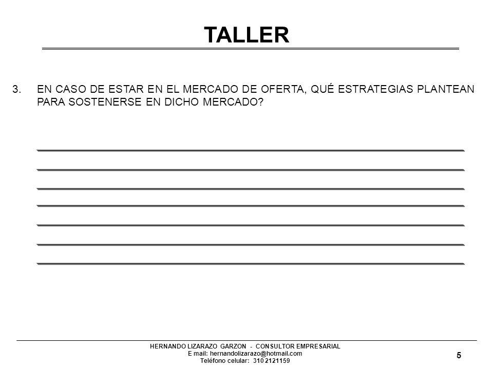 HERNANDO LIZARAZO GARZON - CONSULTOR EMPRESARIAL E mail: hernandolizarazo@hotmail.com Teléfono celular: 310 2121159 3.EN CASO DE ESTAR EN EL MERCADO DE OFERTA, QUÉ ESTRATEGIAS PLANTEAN PARA SOSTENERSE EN DICHO MERCADO.