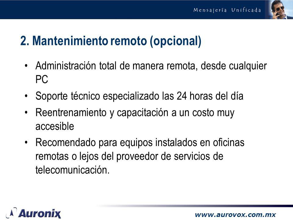 www.aurovox.com.mx 1. Promocionales en retención 2. Mantenimiento remoto 3. Mensajería unificada 3.1. Sólo voz 3.2. Voz y Fax 3.3. Email reading (TTS)