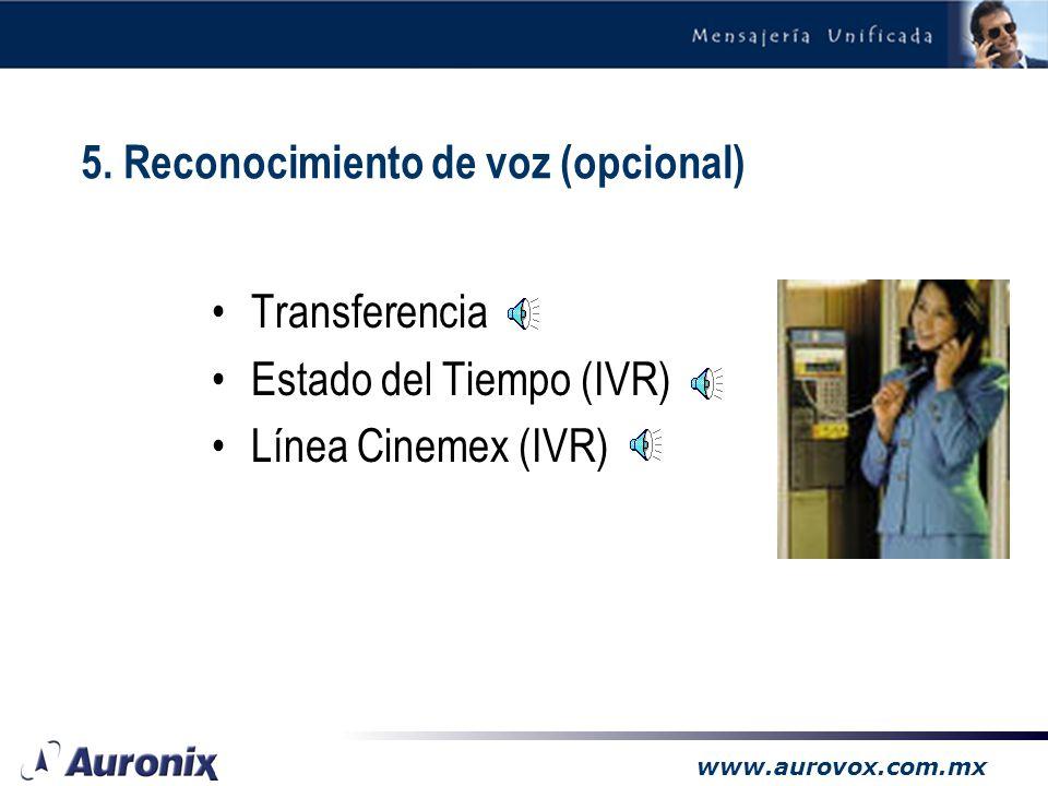 www.aurovox.com.mx –Permite interactuar a través de la voz en vez de tonos –Los clientes no requieren saberse la extensión –Disminuye el tráfico de ll