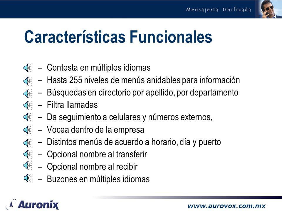 www.aurovox.com.mx 3.2 Mensajería Unificada de Voz y Fax (opcional)