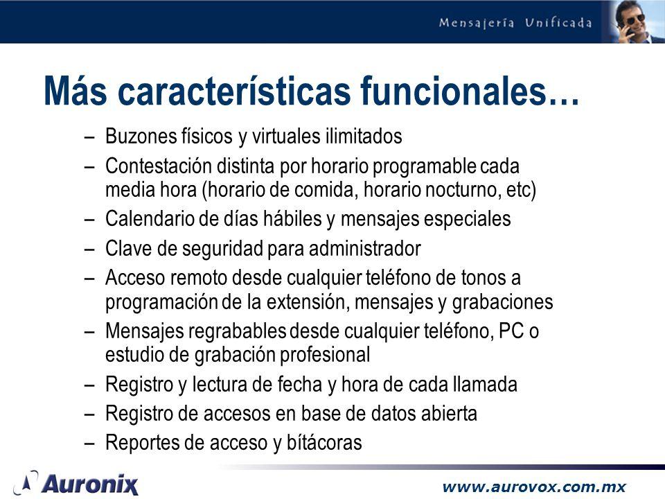 www.aurovox.com.mx Características Funcionales –Contesta en múltiples idiomas –Hasta 255 niveles de menús anidables para información –Búsquedas en dir
