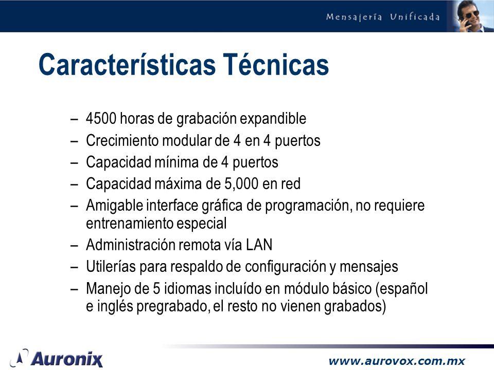 www.aurovox.com.mx Características Técnicas –4500 horas de grabación expandible –Crecimiento modular de 4 en 4 puertos –Capacidad mínima de 4 puertos –Capacidad máxima de 5,000 en red –Amigable interface gráfica de programación, no requiere entrenamiento especial –Administración remota vía LAN –Utilerías para respaldo de configuración y mensajes –Manejo de 5 idiomas incluído en módulo básico (español e inglés pregrabado, el resto no vienen grabados)