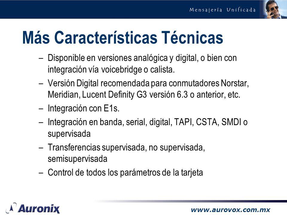 www.aurovox.com.mx Características Técnicas –4500 horas de grabación expandible –Crecimiento modular de 4 en 4 puertos –Capacidad mínima de 4 puertos