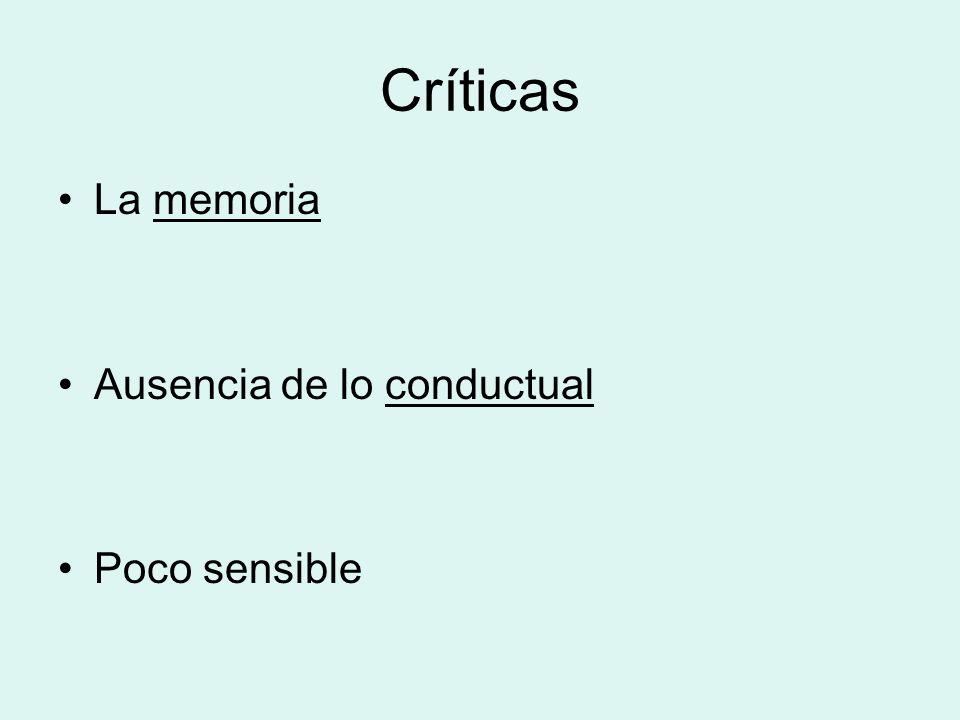 Críticas La memoriamemoria Ausencia de lo conductualconductual Poco sensible