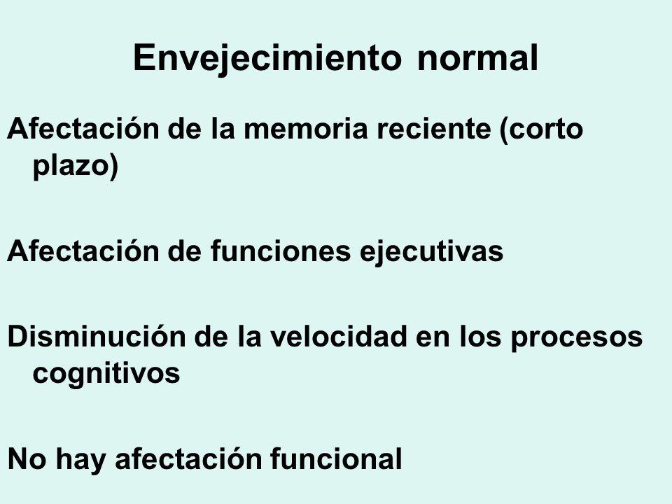 Envejecimiento normal Afectación de la memoria reciente (corto plazo) Afectación de funciones ejecutivas Disminución de la velocidad en los procesos c