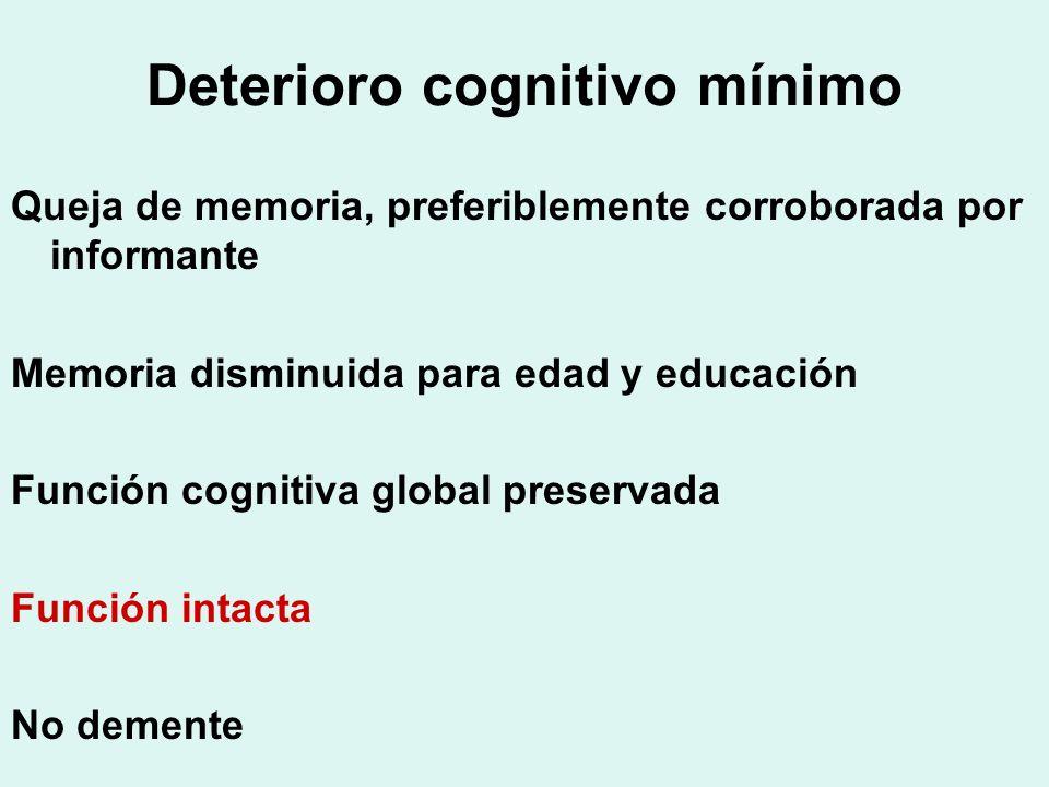 Deterioro cognitivo mínimo Queja de memoria, preferiblemente corroborada por informante Memoria disminuida para edad y educación Función cognitiva glo