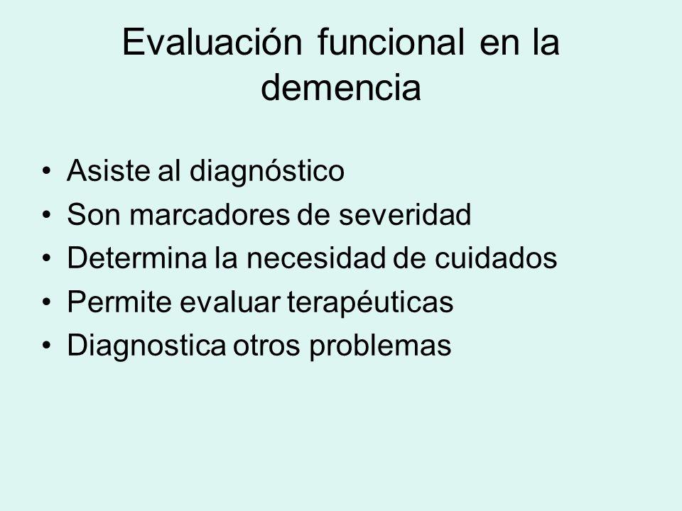 Evaluación funcional en la demencia Asiste al diagnóstico Son marcadores de severidad Determina la necesidad de cuidados Permite evaluar terapéuticas