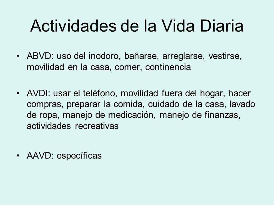 Actividades de la Vida Diaria ABVD: uso del inodoro, bañarse, arreglarse, vestirse, movilidad en la casa, comer, continencia AVDI: usar el teléfono, m