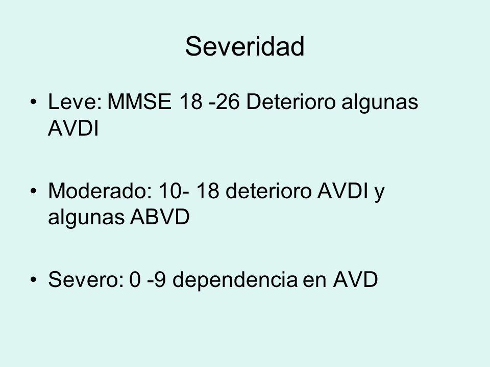 Severidad Leve: MMSE 18 -26 Deterioro algunas AVDI Moderado: 10- 18 deterioro AVDI y algunas ABVD Severo: 0 -9 dependencia en AVD