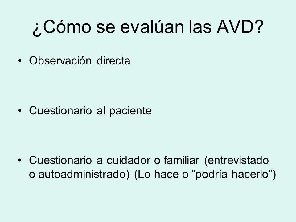 ¿Cómo se evalúan las AVD? Observación directa Cuestionario al paciente Cuestionario a cuidador o familiar (entrevistado o autoadministrado) (Lo hace o