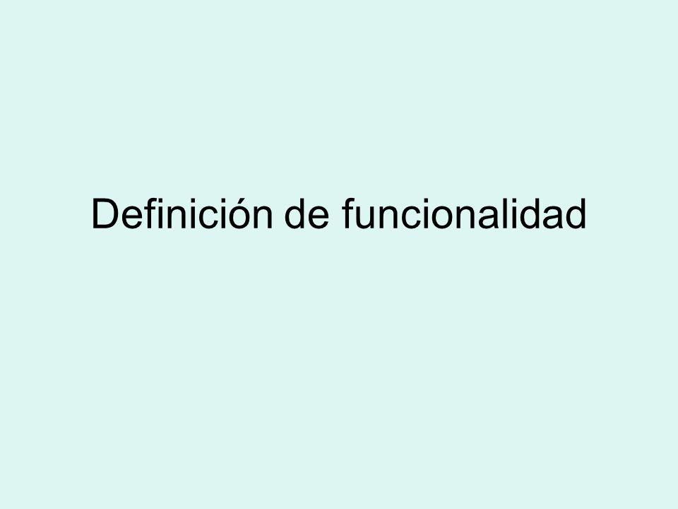 Definición de funcionalidad