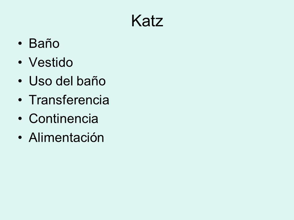 Katz Baño Vestido Uso del baño Transferencia Continencia Alimentación