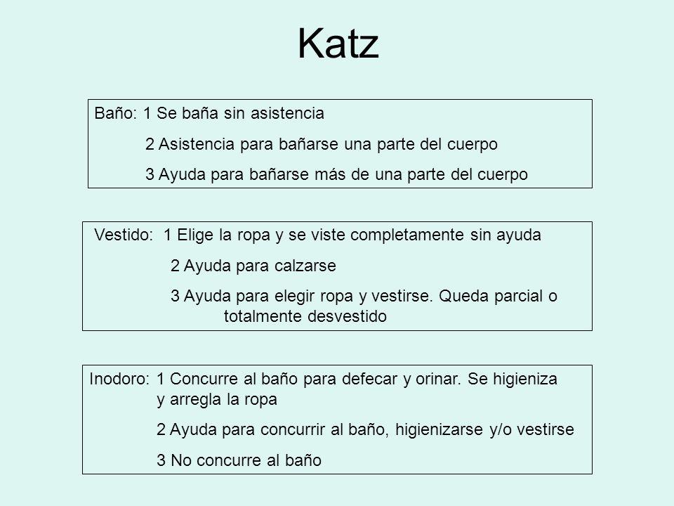 Katz Baño: 1 Se baña sin asistencia 2 Asistencia para bañarse una parte del cuerpo 3 Ayuda para bañarse más de una parte del cuerpo Vestido: 1 Elige l