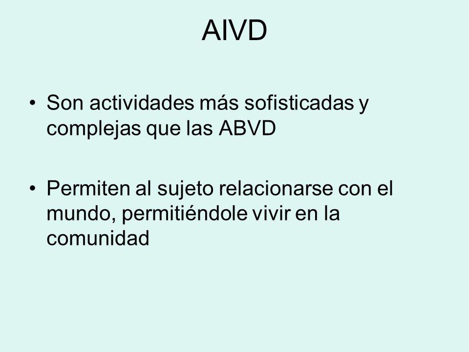 AIVD Son actividades más sofisticadas y complejas que las ABVD Permiten al sujeto relacionarse con el mundo, permitiéndole vivir en la comunidad