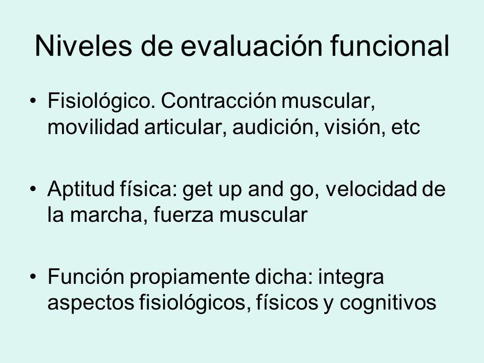 Niveles de evaluación funcional Fisiológico. Contracción muscular, movilidad articular, audición, visión, etc Aptitud física: get up and go, velocidad
