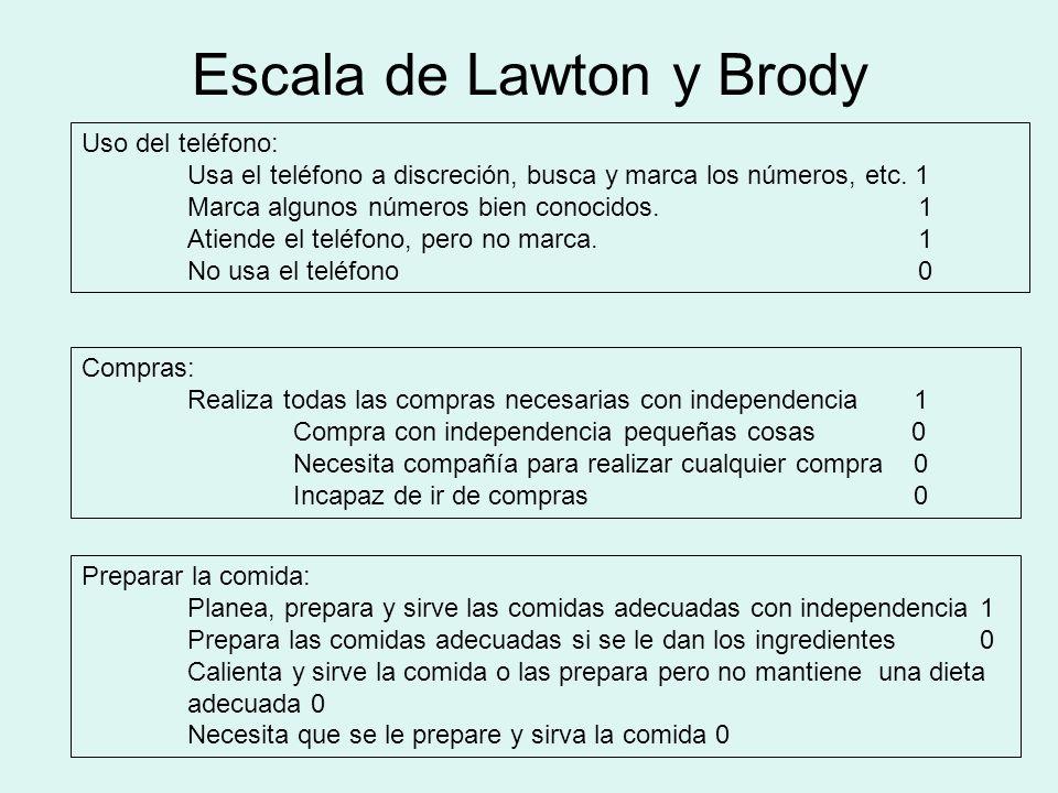 Escala de Lawton y Brody Uso del teléfono: Usa el teléfono a discreción, busca y marca los números, etc. 1 Marca algunos números bien conocidos. 1 Ati