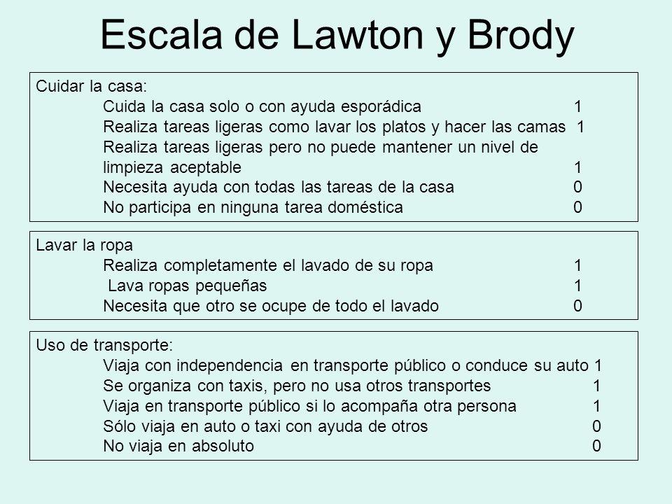 Escala de Lawton y Brody Cuidar la casa: Cuida la casa solo o con ayuda esporádica 1 Realiza tareas ligeras como lavar los platos y hacer las camas 1