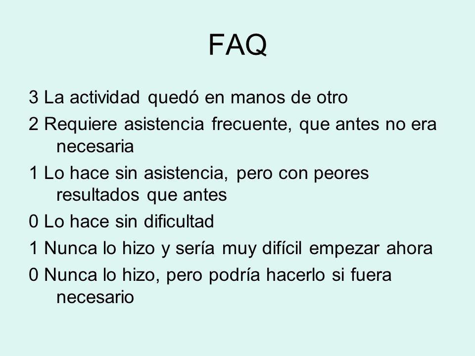 FAQ 3 La actividad quedó en manos de otro 2 Requiere asistencia frecuente, que antes no era necesaria 1 Lo hace sin asistencia, pero con peores result