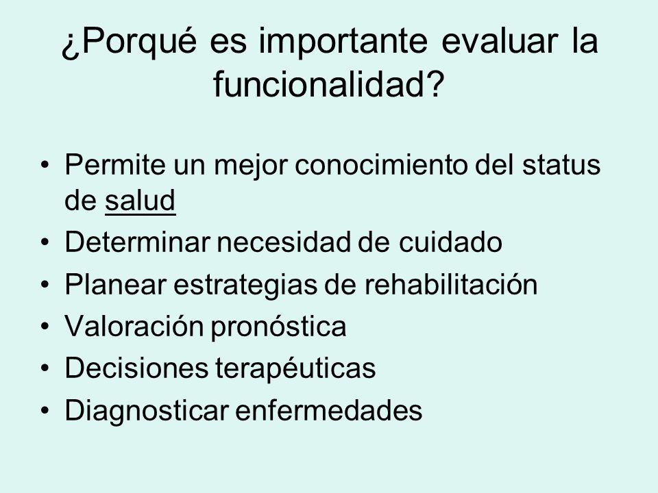 ¿Porqué es importante evaluar la funcionalidad? Permite un mejor conocimiento del status de saludsalud Determinar necesidad de cuidado Planear estrate