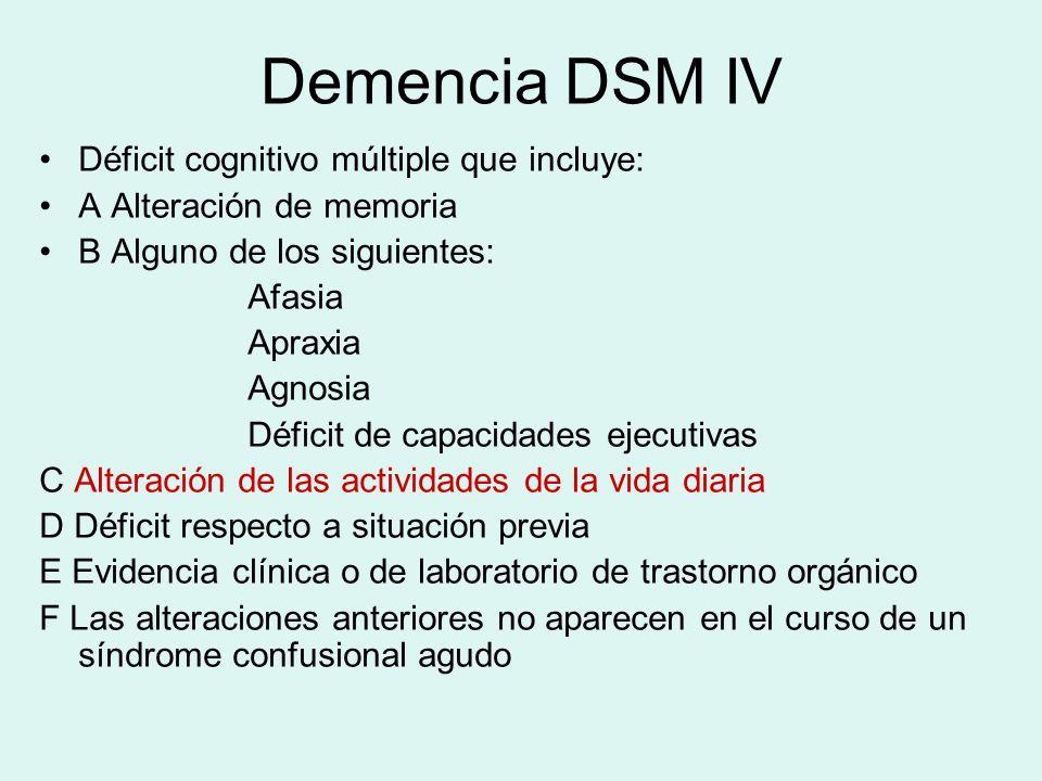 Demencia DSM IV Déficit cognitivo múltiple que incluye: A Alteración de memoria B Alguno de los siguientes: Afasia Apraxia Agnosia Déficit de capacida