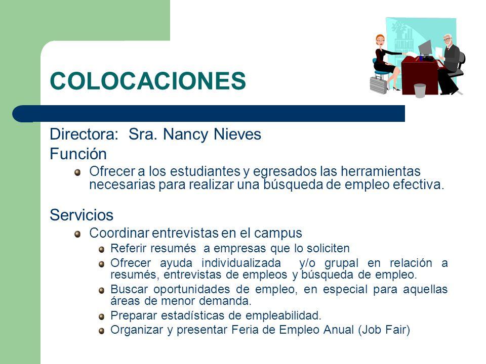 COLOCACIONES Directora: Sra. Nancy Nieves Función Ofrecer a los estudiantes y egresados las herramientas necesarias para realizar una búsqueda de empl