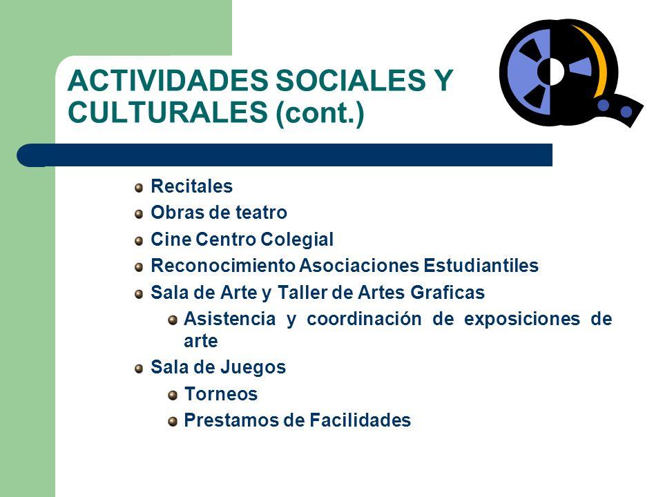 ACTIVIDADES SOCIALES Y CULTURALES (cont.) Recitales Obras de teatro Cine Centro Colegial Reconocimiento Asociaciones Estudiantiles Sala de Arte y Tall