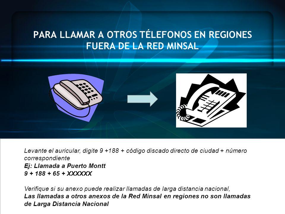 PARA LLAMAR A OTROS TÉLEFONOS EN REGIONES FUERA DE LA RED MINSAL Levante el auricular, digite 9 +188 + código discado directo de ciudad + número corre