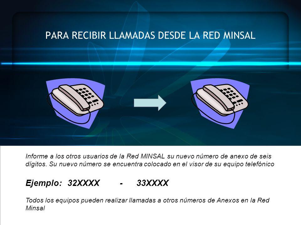 PARA RECIBIR LLAMADAS DESDE LA RED MINSAL Informe a los otros usuarios de la Red MINSAL su nuevo número de anexo de seis dígitos. Su nuevo número se e