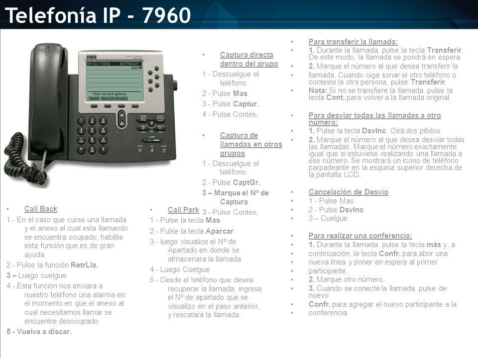 Telefonía IP - 7960 Para transferir la llamada: 1. Durante la llamada, pulse la tecla Transferir. De este modo, la llamada se pondrá en espera. 2. Mar