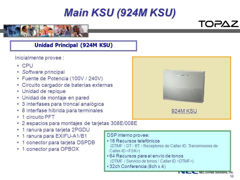10 Main KSU (924M KSU) Inicialmente provee : CPU Software principal Fuente de Potencia (100V / 240V) Circuito cargador de baterías externas Unidad de