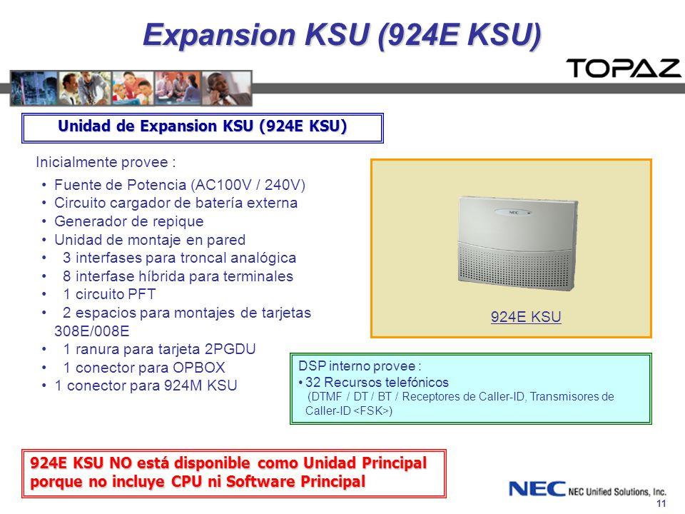 11 Expansion KSU (924E KSU) Inicialmente provee : Fuente de Potencia (AC100V / 240V) Circuito cargador de batería externa Generador de repique Unidad