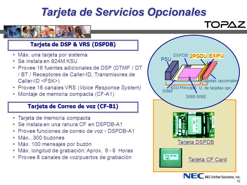 16 Tarjeta de Servicios Opcionales Máx. una tarjeta por sistema Se instala en 924M KSU Provee 16 fuentes adicionales de DSP (DTMF / DT / BT / Receptor