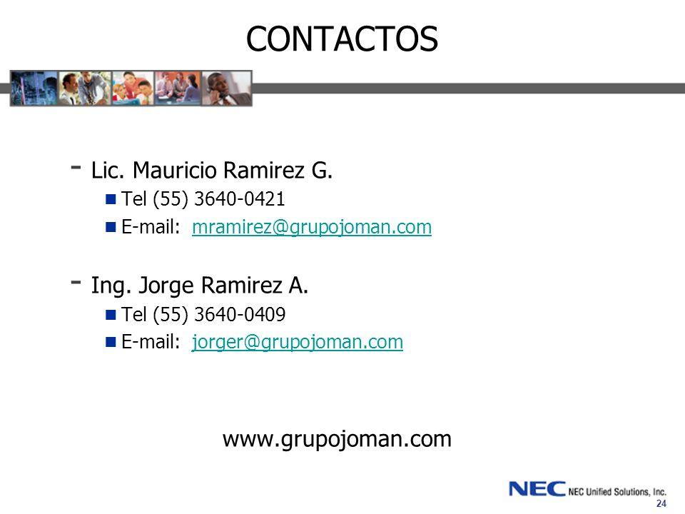 24 CONTACTOS - Lic. Mauricio Ramirez G. Tel (55) 3640-0421 E-mail: mramirez@grupojoman.commramirez@grupojoman.com - Ing. Jorge Ramirez A. Tel (55) 364