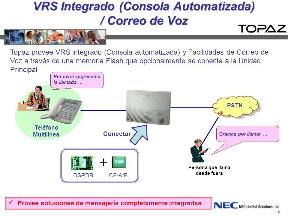 5 VRS Integrado (Consola Automatizada) / Correo de Voz Topaz provee VRS integrado (Consola automatizada) y Facilidades de Correo de Voz a través de un
