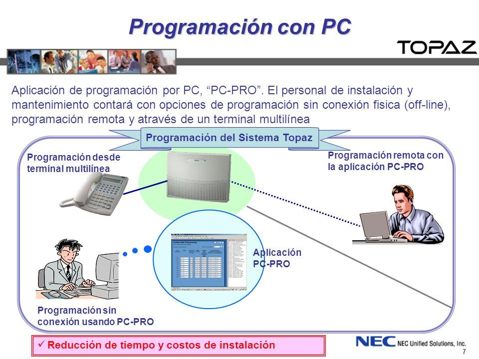 7 Programación con PC Aplicación de programación por PC, PC-PRO. El personal de instalación y mantenimiento contará con opciones de programación sin c