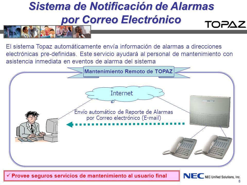 8 Internet Sistema de Notificación de Alarmas por Correo Electrónico Envío automático de Reporte de Alarmas por Correo electrónico (E-mail) Mantenimie